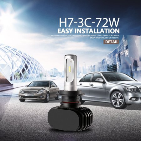 2pcs H7 Car Led Headlight High Low 72w 8000lm 6000k Dc9 32v Auto