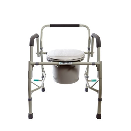 Padded Commode Seat - Healthline Deluxe 3 in 1 Bedside Commode, Toilet Safety Frame, Elevated Toilet Seat. Medical Steel Drop Arm Bedside Commode Chair Toilet Seat With Commode Bucket and Splash Guard, Gray
