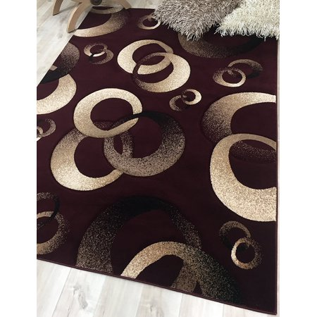 HR BURGUNDY, BEIGE, BLACK AND BROWN CIRCLES AND MODERN ABSTRACT GEOMETRIC AREA RUG CARPET (3' 9