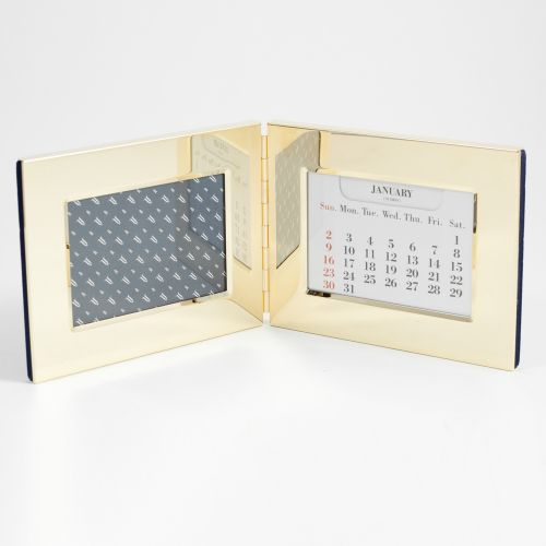 "Bey Berk Gold Plated Perpetual Calendar & 3 1/2""X5"" Frame"
