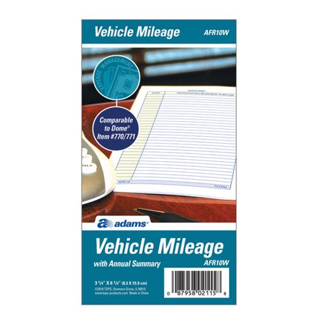 Adams Vehicle Mileage Journal - Auto Mileage Log