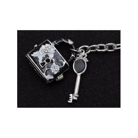 Silver Tone Art Black Enamel Floral Design Deadbolt Crystal Key Locket Keychain