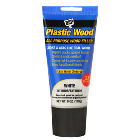 DAP Plastic Wood Latex Based Wood Filler, 6 oz, White Squeeze Tube