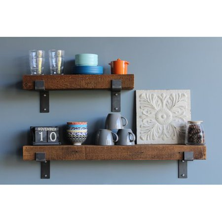 (17 Stories Chumbley Made Chunky Reclaimed Barn Wood 2 Piece Wall Shelf Set)