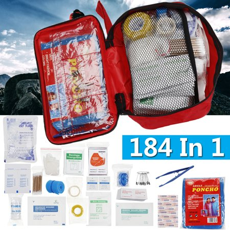 184 in 1 Portable First Aid Emergency Medical Kit Survival Bag Outdoors Travel Camping Pill Storage Bag, includes Tape Roll, Bandage Triangularie, Emergency Blanket,Ice Pack etc thumbnail