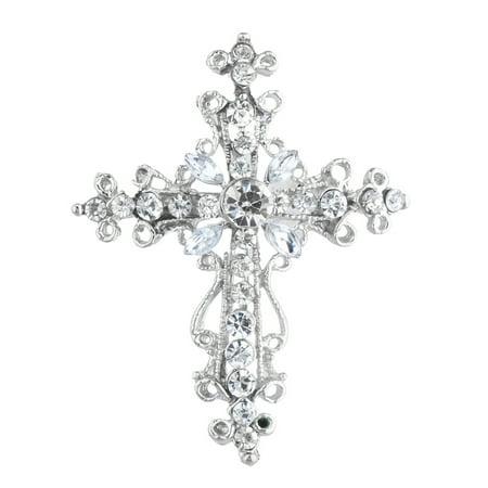 Lux Accessories Silver Tone Cross Silver Crystal Rhinestones Brooch Pins ()