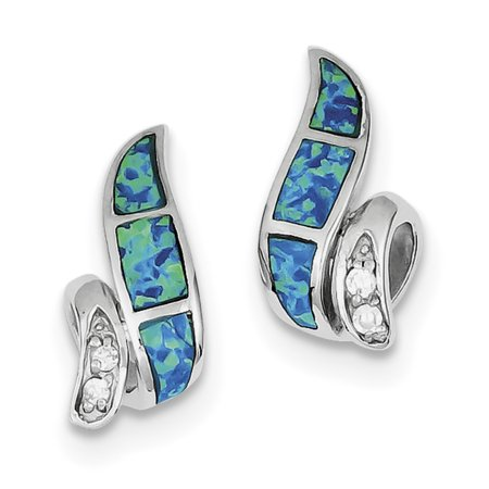 Sterling Silver CZ Blue Inlay Created Opal Twisted Earrings QE9406 - image 2 of 2