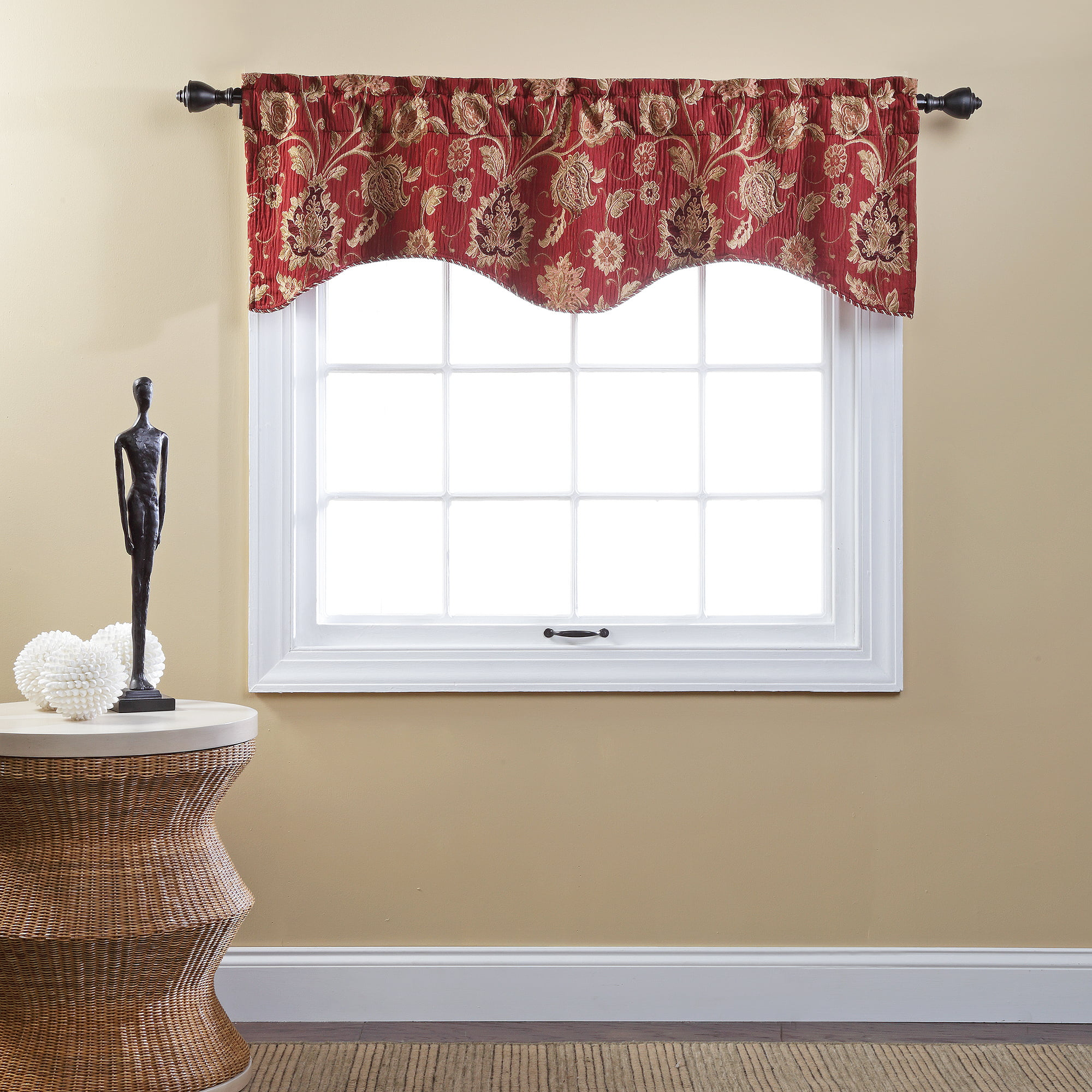 better homes and gardens gingham and blooms valance - walmart