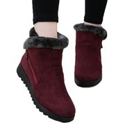 Women's Winter Low Flat Chunky Warm Fur Lined Sneakers Ankle Boots Snow Shoes