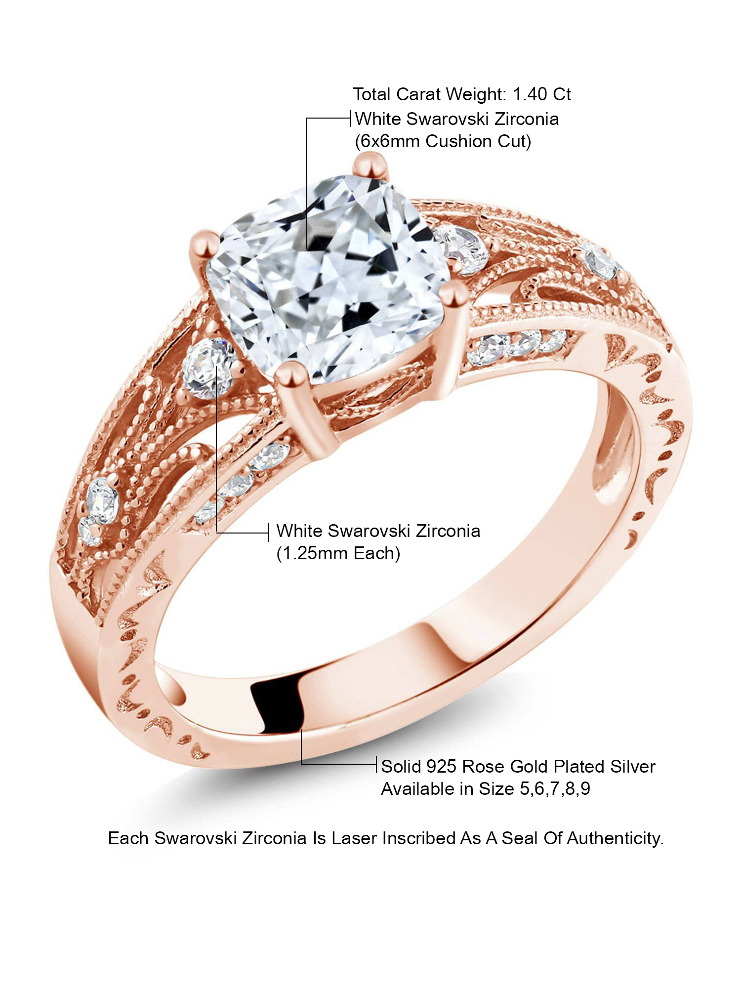 925 Sterling Silver 18k Gold//Rose Gold//White Gold Plated Engagement Ring Women