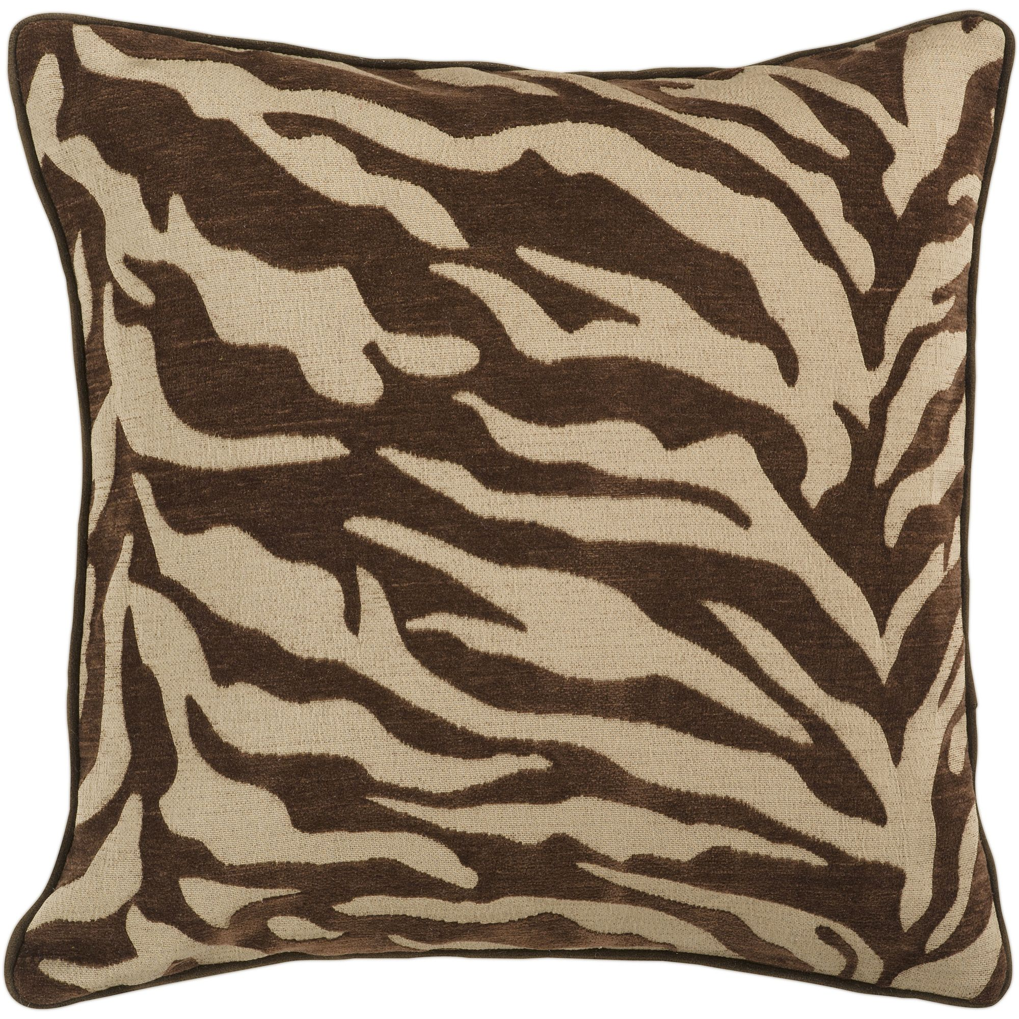 Art of Knot River Hand Crafted Zippy Zebra Decorative Pillow with Poly Filler, Chocolate