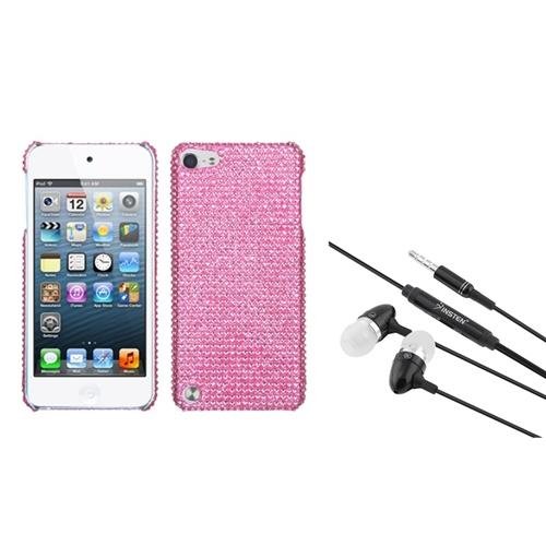 Insten Pink Diamante Back Protector Cover(Diamante 2.0) Case For iPod Touch 6 6G / 5 5G + 3.5mm Headset