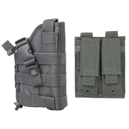 WOLF GREY MOLLE Compatible Holster With FREE MOLLE Compatible 2 Pocket Magazine Pouch / The Holster Fits Glock 17 20 21 22 37 31 FN FNS FNP.., By m1surplus from
