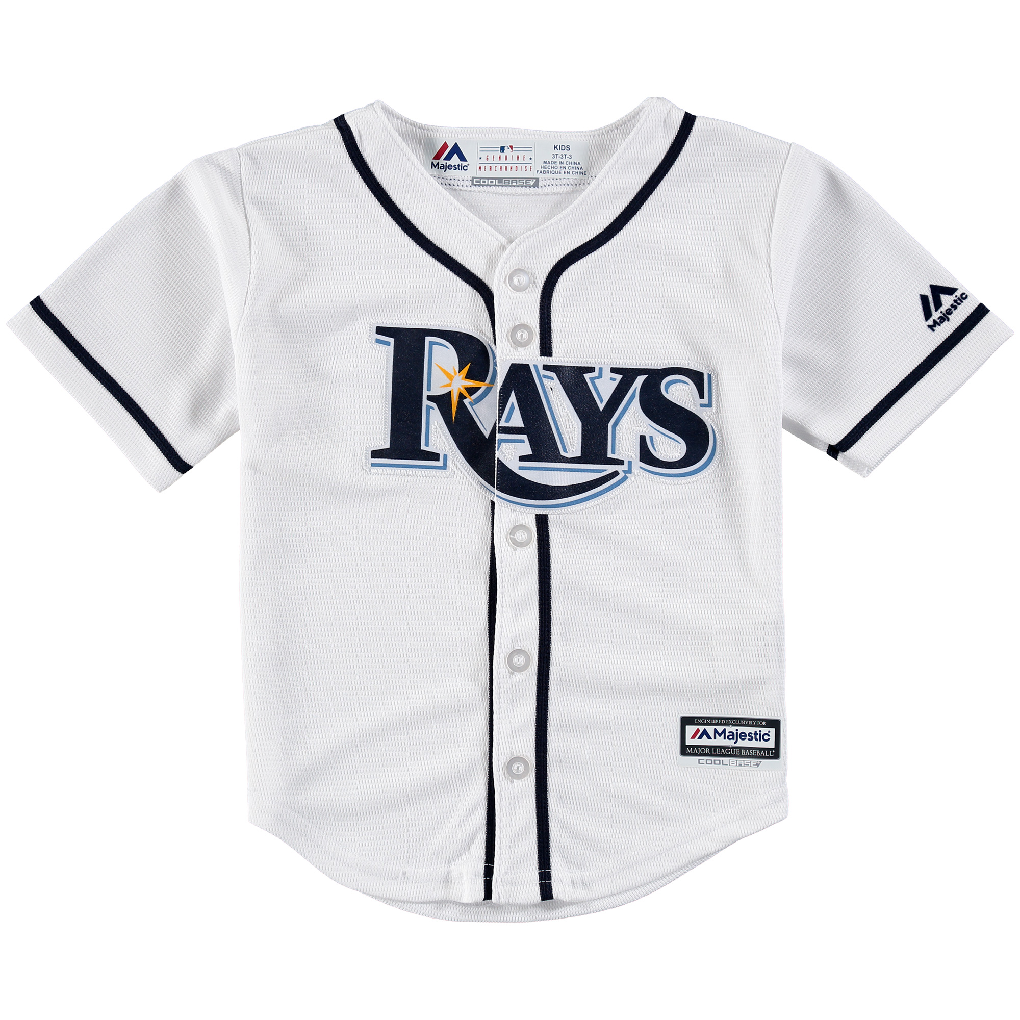Tampa Bay Rays Majestic Toddler Official Cool Base Jersey - White