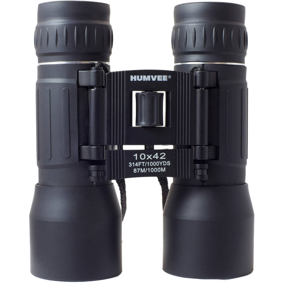 Anti-Reflective Compact Binoculars with Carrying Case, Humvee, 10x42, Black