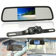 12V 4.3 Inch Car TFT LCD Monitor Mirror Wireless Reversing Rear View Backup Camera Kit