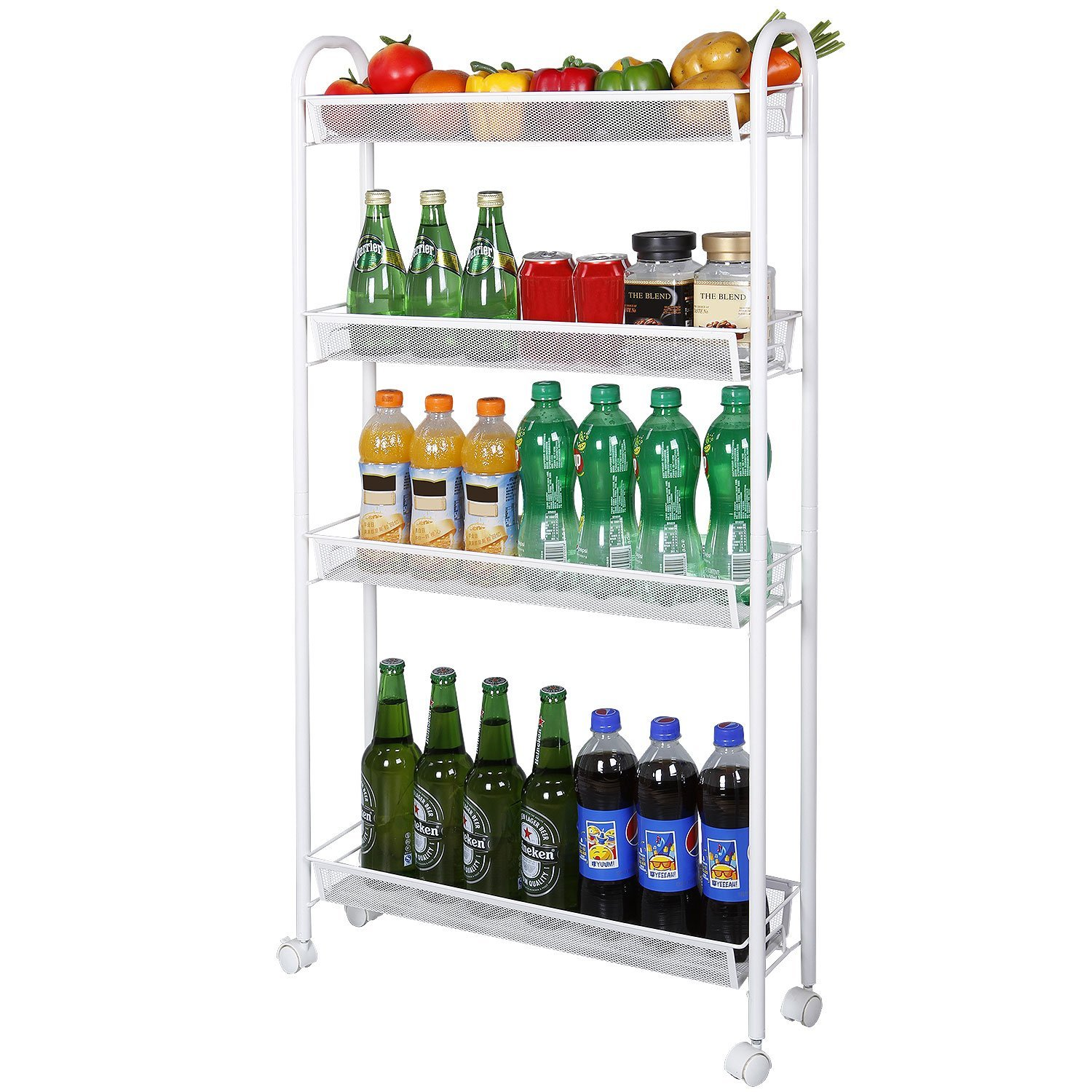 Zimtown 4-Tier Gap Kitchen Slim Slide Out Storage Tower Rack with Wheels, Cupboard with Casters