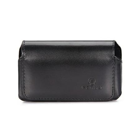 Black Leather Phone Case Compatible With HTC HD Mini, Freestyle, Droid Eris, Diamond 2 Touch, Aria - Huawei Pinnacle, Pillar, M750 M735, IDEOS U8150, Comet - Kyocera Rise, Rio E3100, Brio A3N (Huawei M735 Case)