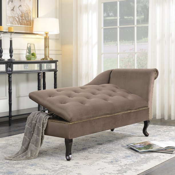 Belleze Velveteen Tufted Chaise Lounge, Chaise Lounges Living Room Chairs