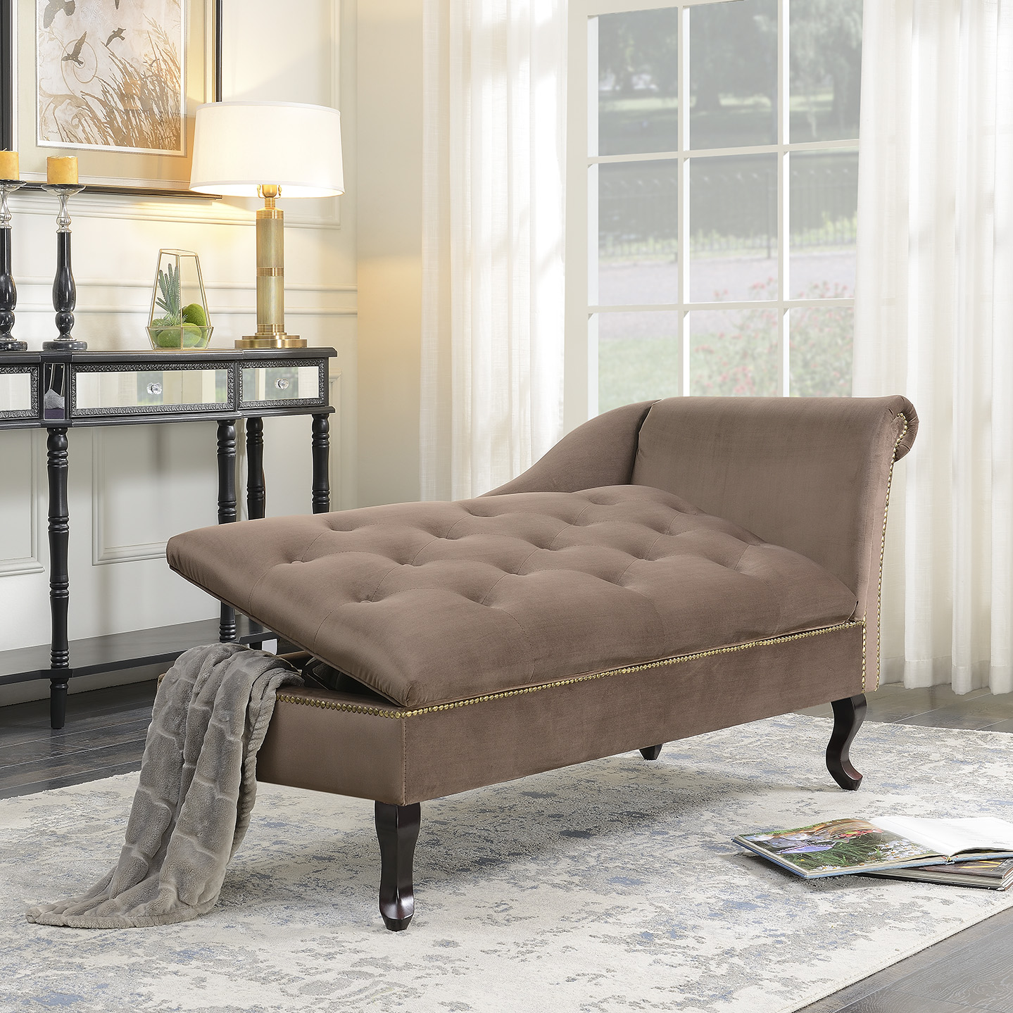 Belleze Velveteen Tufted Open Fold Spa Chaise Lounge Chiar Couch For Living  Room Gold Nailhead Trim
