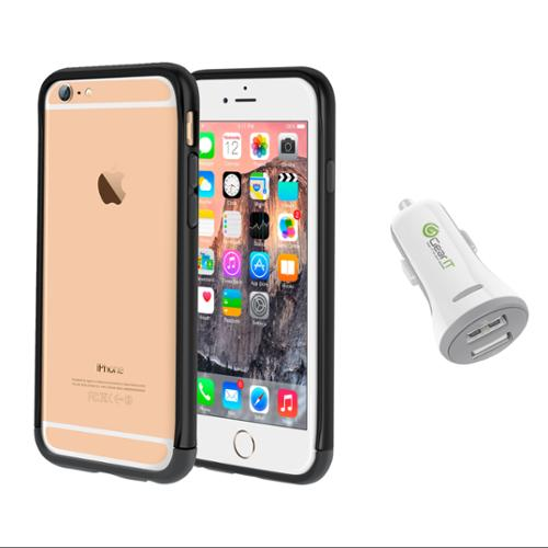 iPhone 6 Case Bundle (Case + Charger), roocase iPhone 6 4.7 Strio Bumper Open Back with Corner Edge Protection Case Cover with White 3.4A Car Charger for Apple iPhone 6 4.7-inch, Black