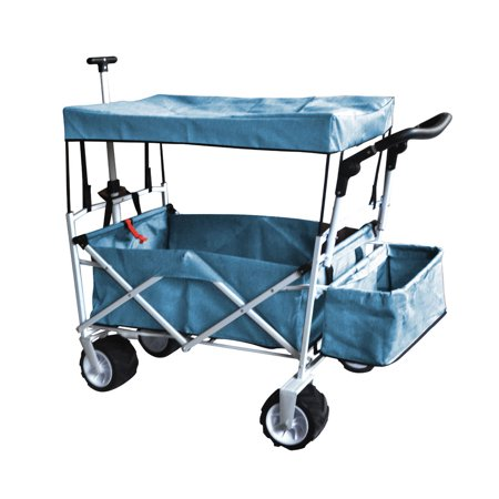- BLUE OUTDOOR FOLDING WAGON CANOPY GARDEN STROLLER TRAVEL CART ALL TERRAIN WHEEL