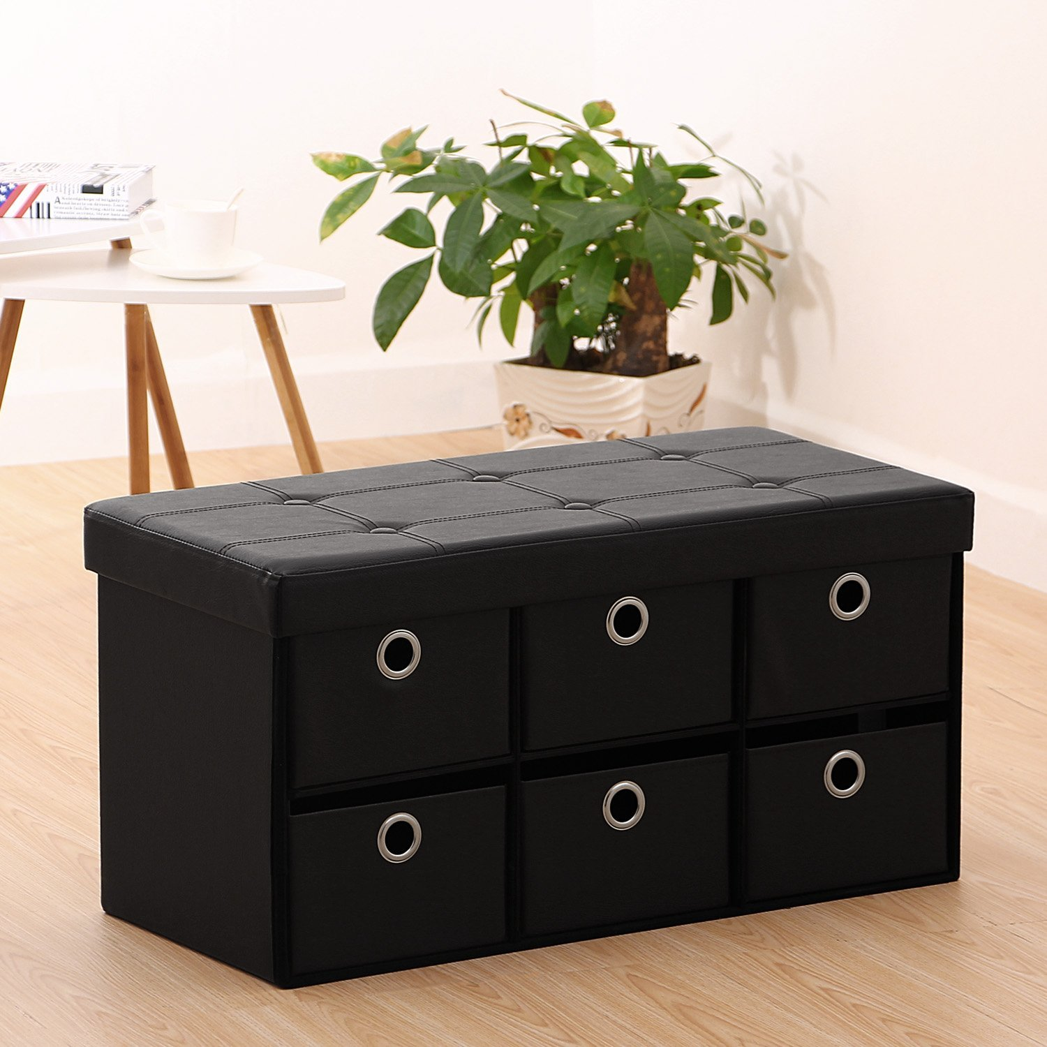 Ollieroo® PU Leather Folding Ottoman Storage Box Footstool Space Saver with 6 Drawer