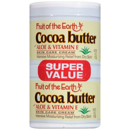 (2 pack) Fruit of the Earth Cocoa Butter with Aloe & Vitamin E Skin Care Cream Super Value, 4 oz, 2 count