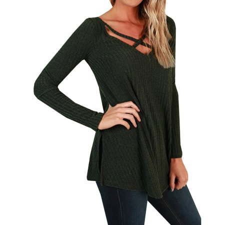 V-neck Cross Sweater Autumn Winter Women Casual Loose Knit Pullovers ()
