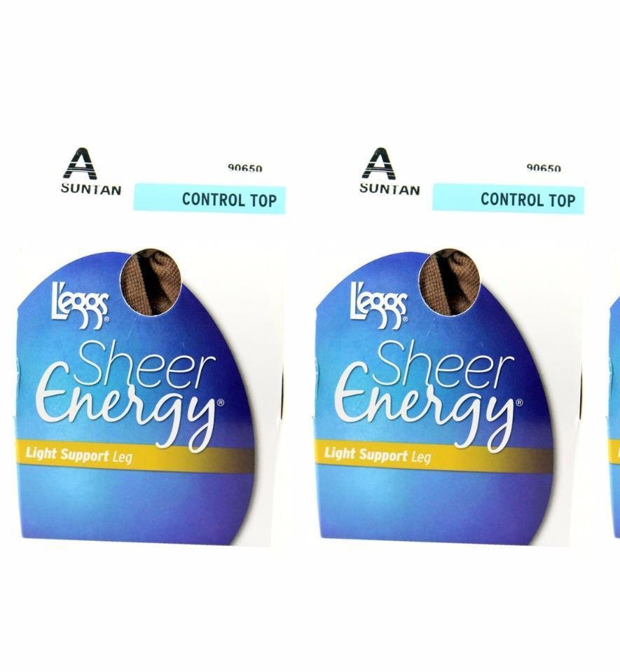 Pack of 3 L'eggs Sheer Energy Light Support Leg A Suntan Control Top Pantyhose
