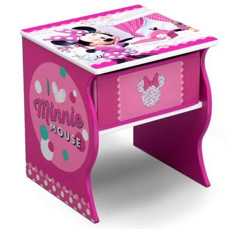 Disney Minnie Mouse Wood Side Table with Storage by Delta Children](Minnie Mouse Table Cover)