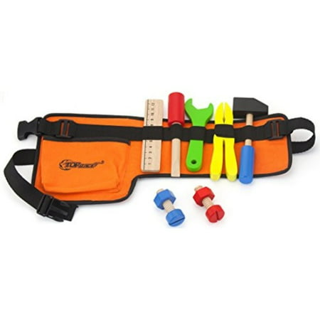Top Race 10 Piece Tool Belt, Thick Fabric Tool Belt with Solid Wooden Tools, Construction Role Play