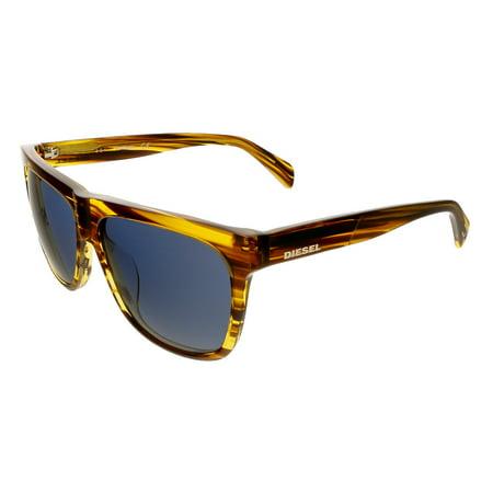 Diesel DL9100/S 41V Brown Horn Rectangle Sunglasses