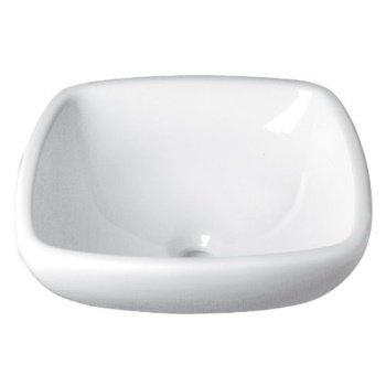 decolav 1423-cwh amalie classically redefined square vitreous china semi-recessed vessel, white Semi Vitreous China