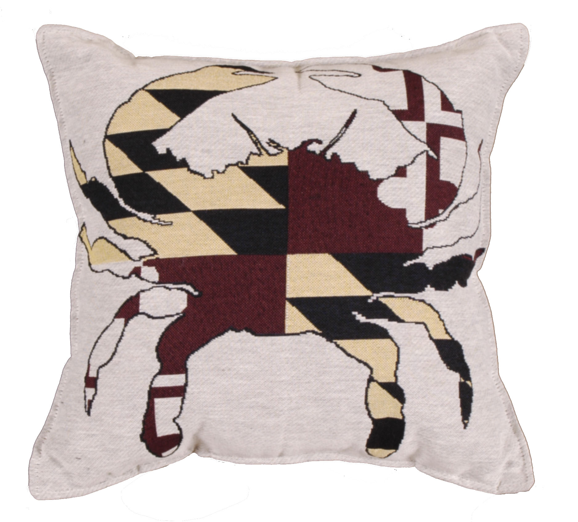 Set of 2 Crab State Flag of Maryland Square Decorative Tapestry Throw Pillows 17""