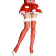 Sheer Thigh Hi Nylon With Faux Fur Trim Top Xmas Costume Hosiery