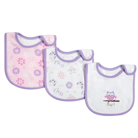 3 Pack Baby Bibs 100% Organic Cotton Drooling Teething Feeding Bib Soft Super Absorbent With Snap Button For 0-36 Months Girls Boy Newborns Infant Toddlers Owl 100% Organic Cotton Bib