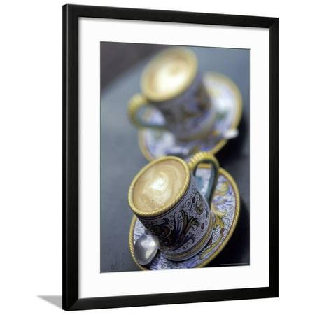 Espresso Drinks in Italian Mugs, Seattle, Washington, USA Framed Print Wall Art By John & Lisa - Halloween Themed Espresso Drinks