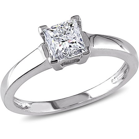 Miabella 1 Carat T.W. Princess-Cut Certified Diamond 14kt White Gold Solitaire Engagement Ring