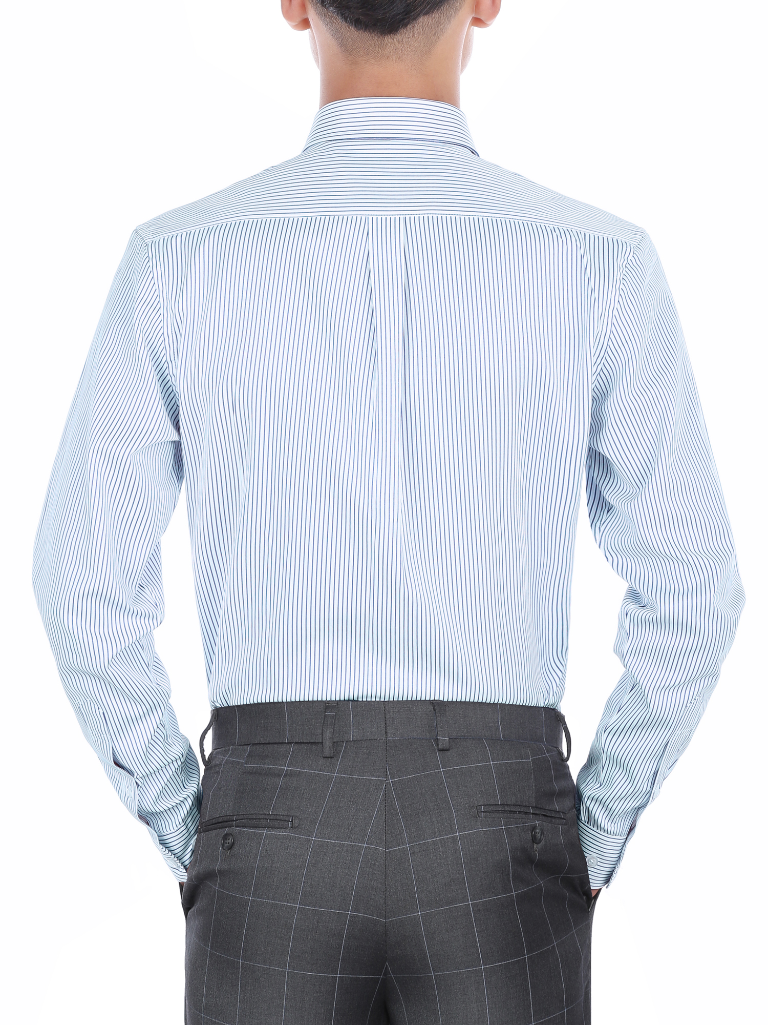 Verno Mens Slim Fit Long Sleeve Blue And White Stripe Dress Shirt