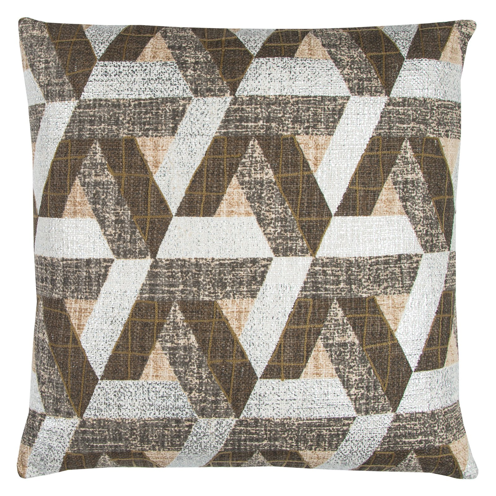 "Rizzy Home Decorative Poly Filled Throw Pillow Geometric 20""X20"" Brown"
