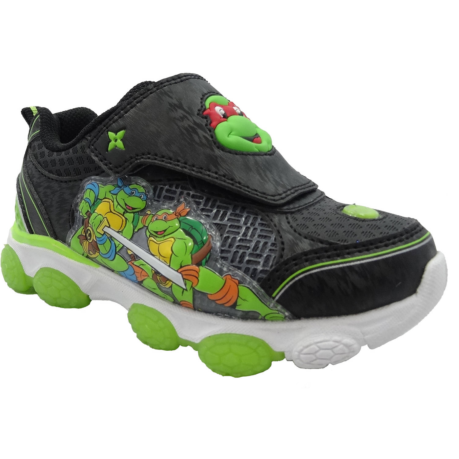 NEW Toddler Boys Tennis Shoes Size 7 Black TMNT Mutant Ninja Turtles Sneakers