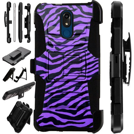 Compatible LG Stylo 5 | LG Stylo 5 Plus Case Armor Hybrid Phone Cover LuxGuard Holster (Purple Zebra Skin)