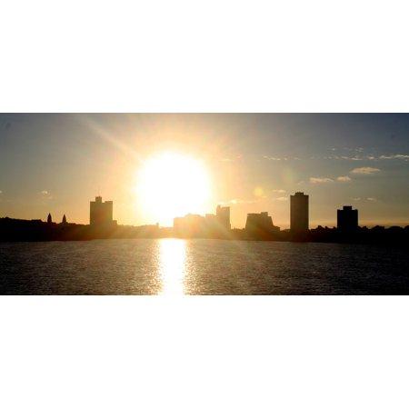 Laminated Poster Landscape Sun City Boston Silhouette Horizon Poster Print 11 x 17
