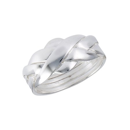 New .925 Sterling Silver 4 Band Puzzle Knot Ring - Sizes 6-12 ()