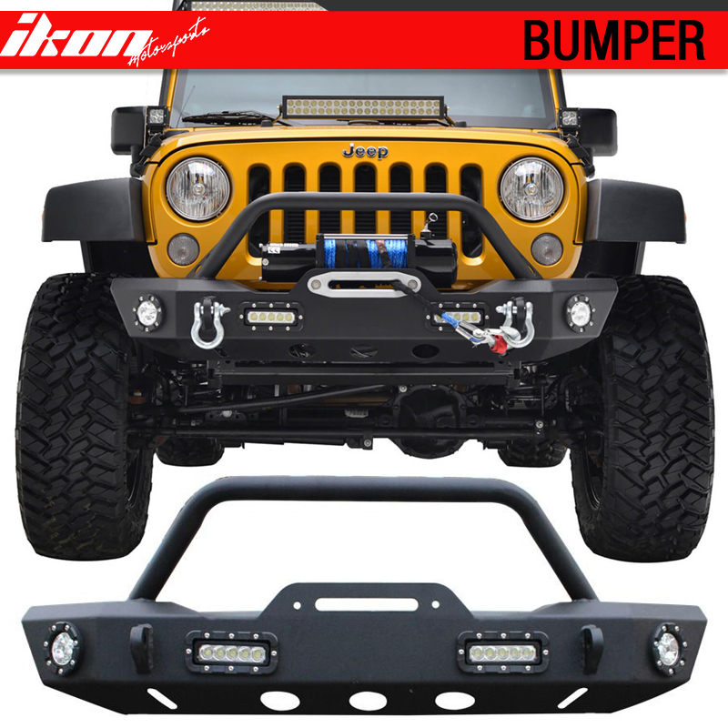 Fits 07-17 Jeep Wrangler Jk Front Bumper Rock Crawler Winch Plate With Led Light