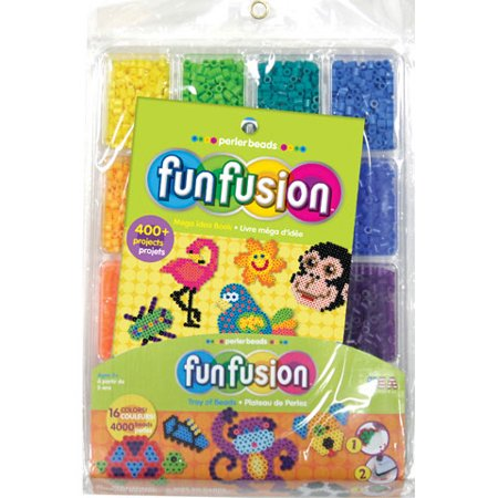 Perler Beads FunFusion Bead Tray and Idea Book - 16 Colors