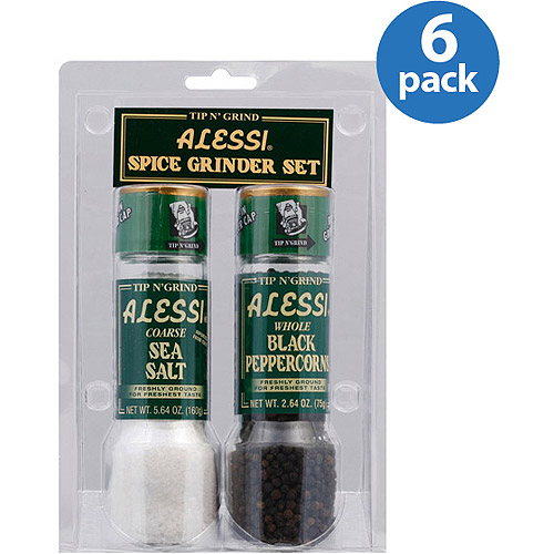Alessi Sea Salt & Whole Black Peppercorns Spice Grinder Set, 2 count, (Pack of 6)