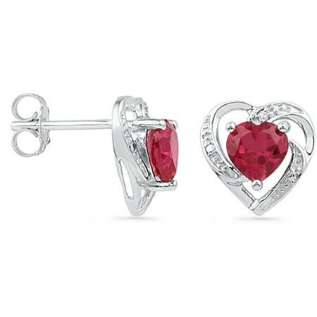 Ladies White Gold Finish Diamond & Heart Cut Created Ruby Post Stud Earrings