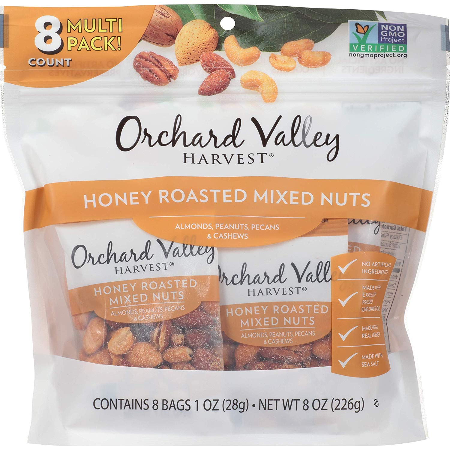 Orchard Valley Harvest Honey Roasted Mixed Nuts, 1 oz (Pack of 8)